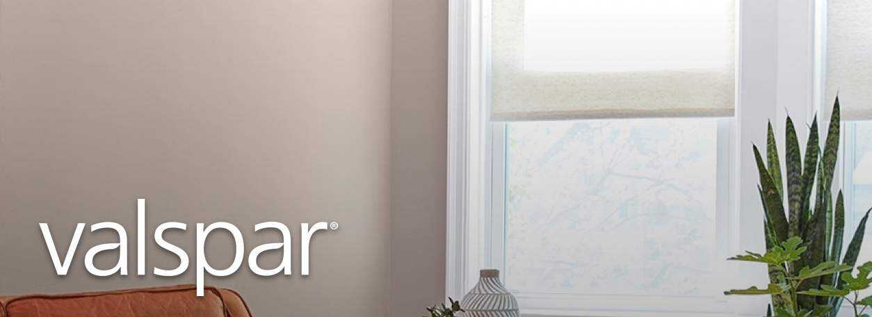 Valspar logo with painted living room