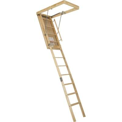 Louisville Premium 8 Ft. 9 In. to 10 Ft. 25-1/2 In. x 54 In. Wood Attic Stairs, 250 Lb. Load