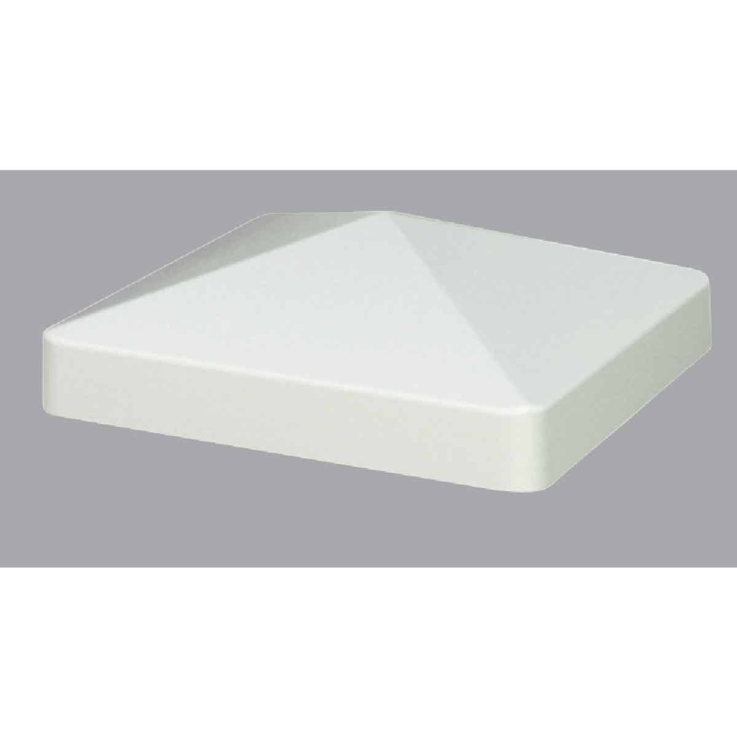 Outdoor Essentials 4 In. x 4 In. White Pyramid Vinyl Post Cap Image 1