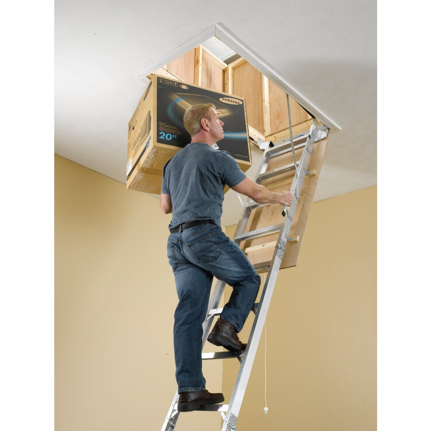 Werner Universal 8 Ft. to 10 Ft. 25 In. x 54 In. Aluminum Attic Stairs, 375 Lb. Load Image 2