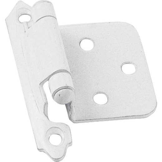Laurey White Self-Closing Overlay Hinge with Wood Screws (2-Pack)