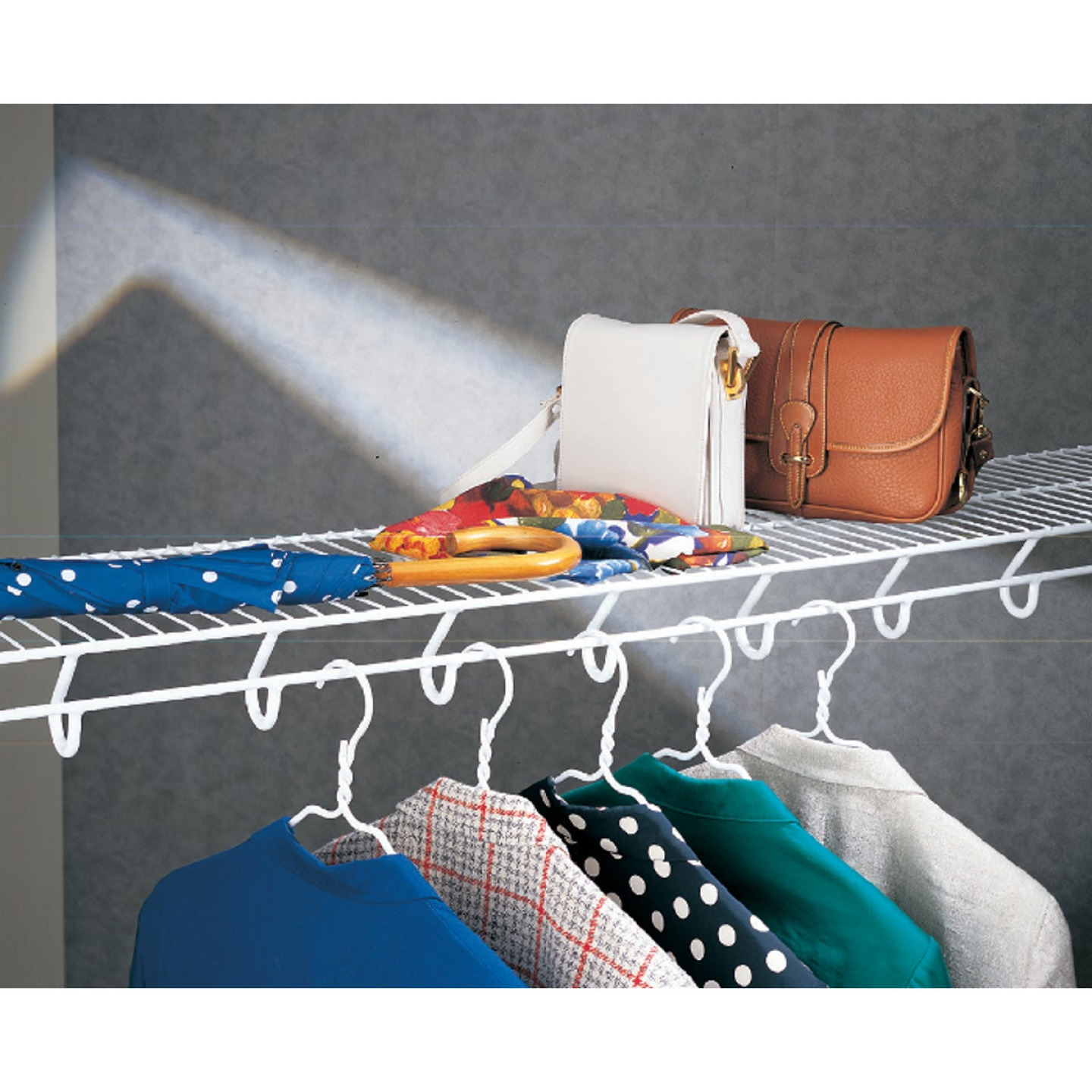 ClosetMaid TotalSlide 12 Ft. W. x 12 In. D. Contractor Pack Ventilated Wire Shelf & Rod, White (6-Pack) Image 2