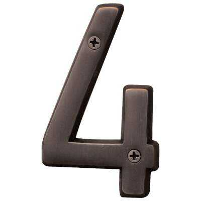 Hy-Ko Prestige Series 4 In. Oil Rubbed Bronze House Number Four