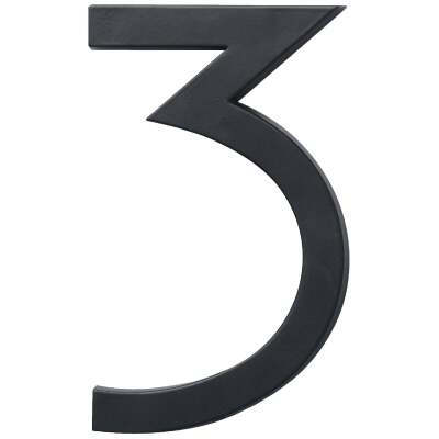 Hy-Ko Architectural Series 6 In. Satin Black House Number Three