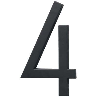 Hy-Ko Architectural Series 6 In. Satin Black House Number Four