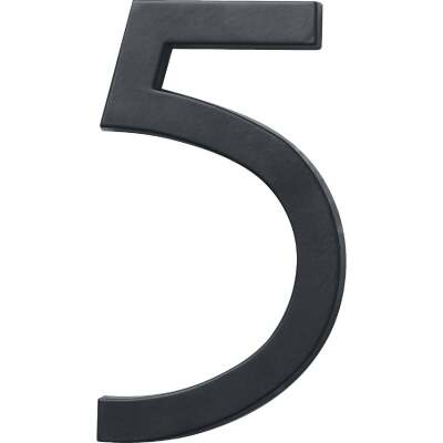 Hy-Ko Architectural Series 6 In. Satin Black House Number Five
