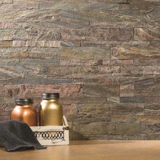 Aspect 6 In. x 24 In. Natural Stone Backsplash Peel & Stick, Weathered Quartz