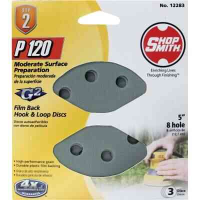 Shop Smith 5 In. 120-Grit 8-Hole Pattern Vented Sanding Disc with Hook & Loop Backing (3-Pack)