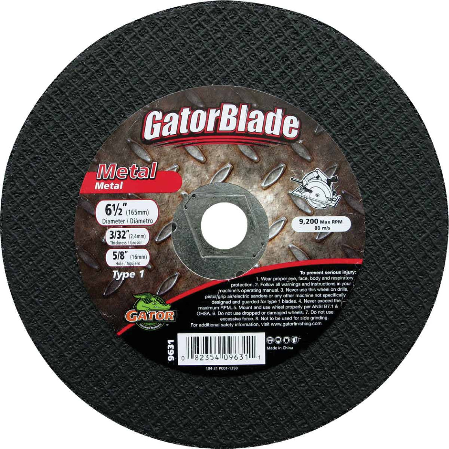 Gator Blade Type 1 6-1/2 In. x 3/32 In. x 5/8 In. Metal Cut-Off Wheel Image 1