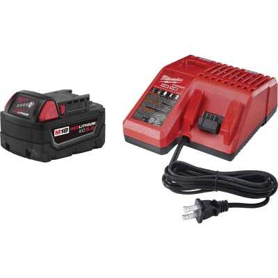 Milwaukee M18 REDLITHIUM XC 18 Volt Lithium-Ion 5.0 Ah Extended Capacity Tool Battery/Charger Starter Kit