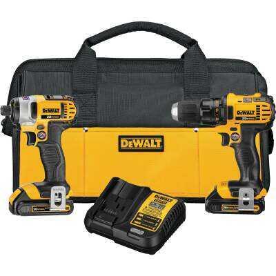 DeWalt 2-Tool 20V MAX Lithium-Ion Compact Drill/Driver & Impact Driver Cordless Tool Combo Kit