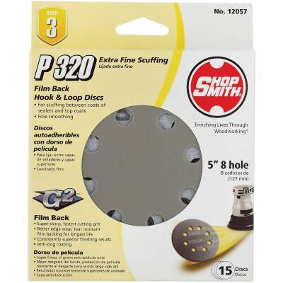 Shop Smith 5 In. 320-Grit 8-Hole Pattern Vented Sanding Disc with Hook & Loop Backing (15-Pack)