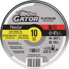 Gator Blade ThinCut Type 1 4-1/2 In. x 0.047 In. x 7/8 In. Metal/Stainless Cut-Off Wheel (10-Pack) Image 1