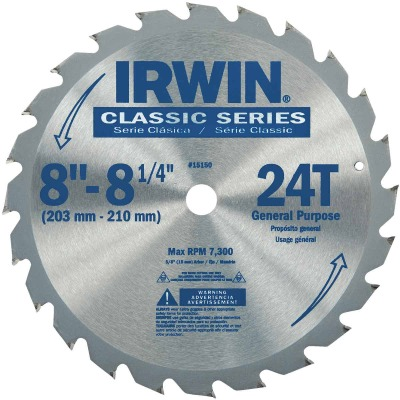 Irwin Classic Series 8-1/4 In. 24-Tooth General Purpose Circular Saw Blade