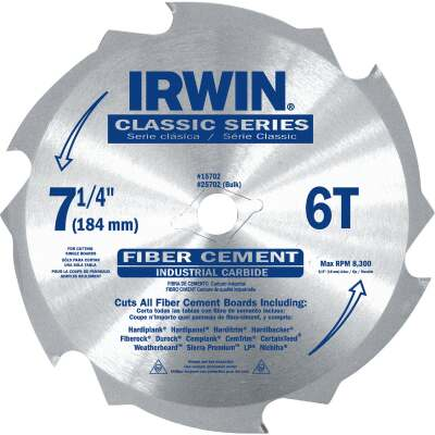 Irwin Classic Series 7-1/4 In. 6-Tooth Fiber Cement Circular Saw Blade