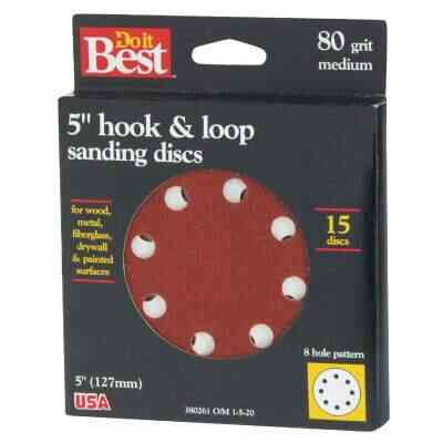 Do it Best 5 In. 80-Grit 8-Hole Pattern Vented Sanding Disc with Hook & Loop Backing (15-Pack)