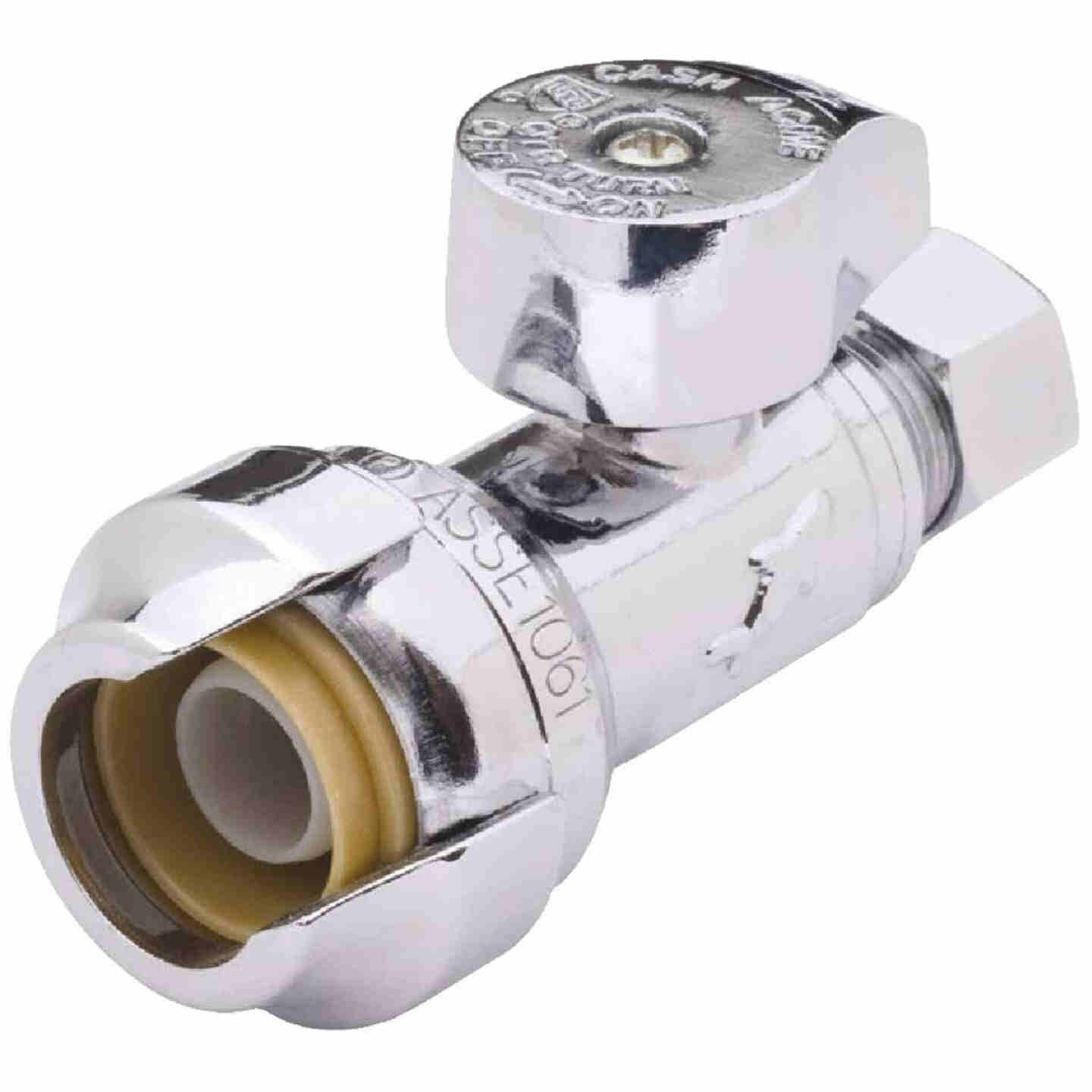 Sharkbite 1/2 In. x 3/8 In. Compression Brass Straight Stop Valve Image 1