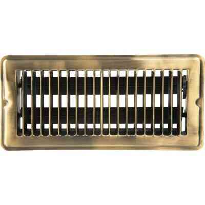 Home Impressions 4 In. x 10 In. Antique Brass Steel Floor Register