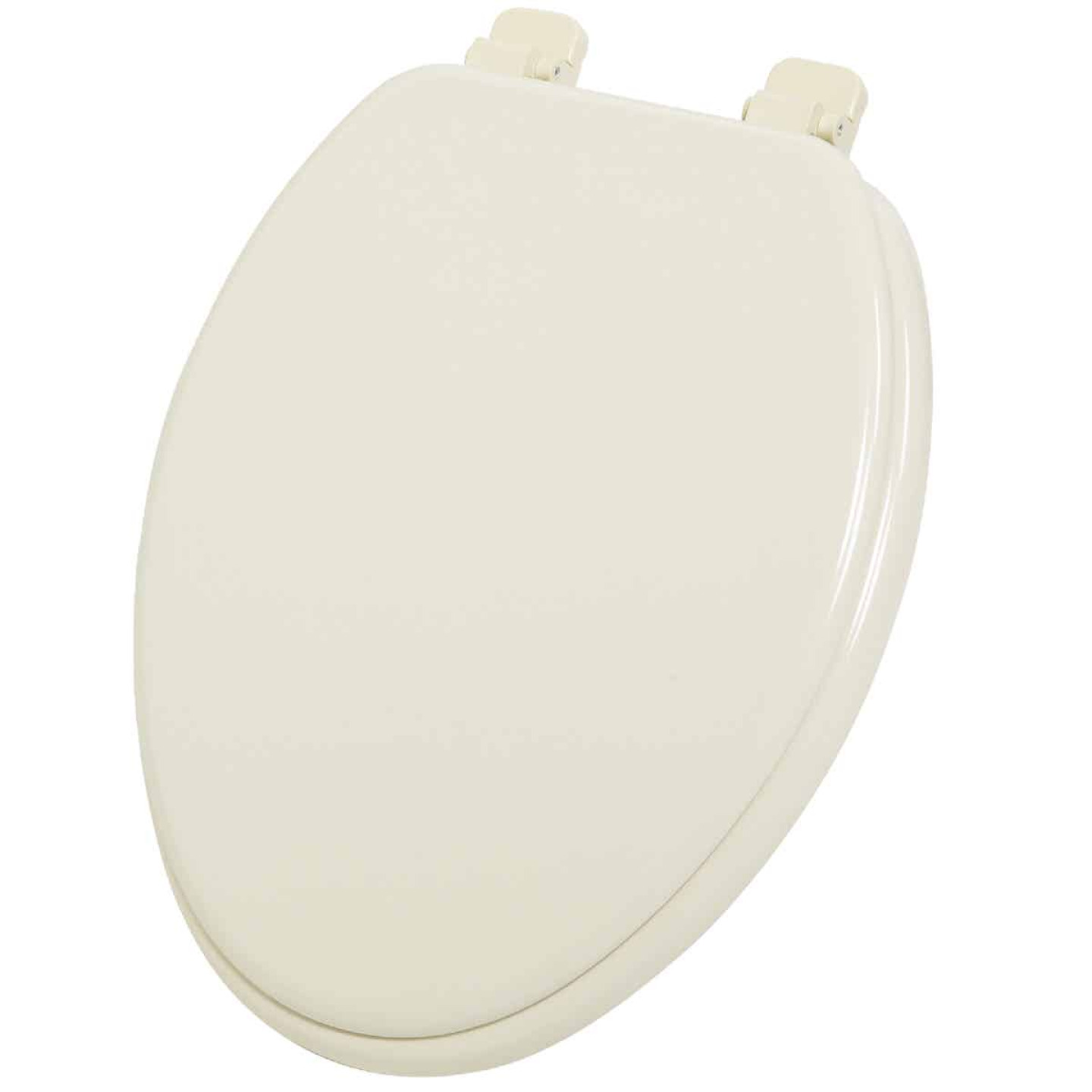 Home Impressions Elongated Closed Front Bone Wood Toilet Seat Image 1