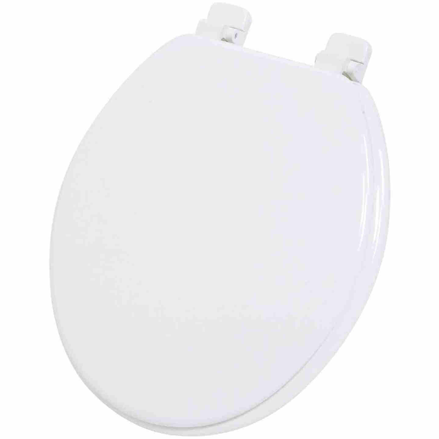 Home Impressions Round Closed Front White Wood Toilet Seat Image 1