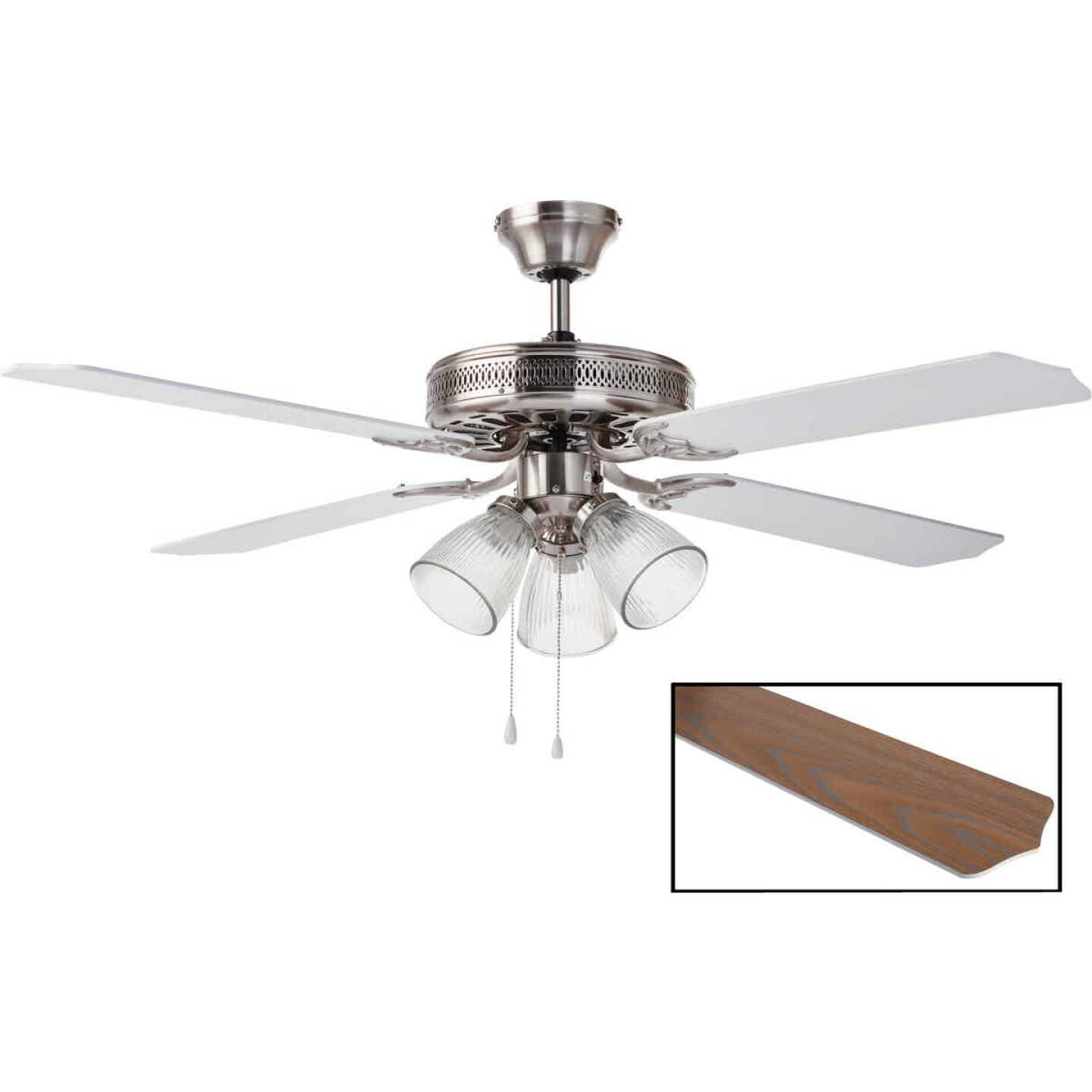 Home Impressions Chateau 52 In. Brushed Nickel Ceiling Fan with Light Kit Image 1