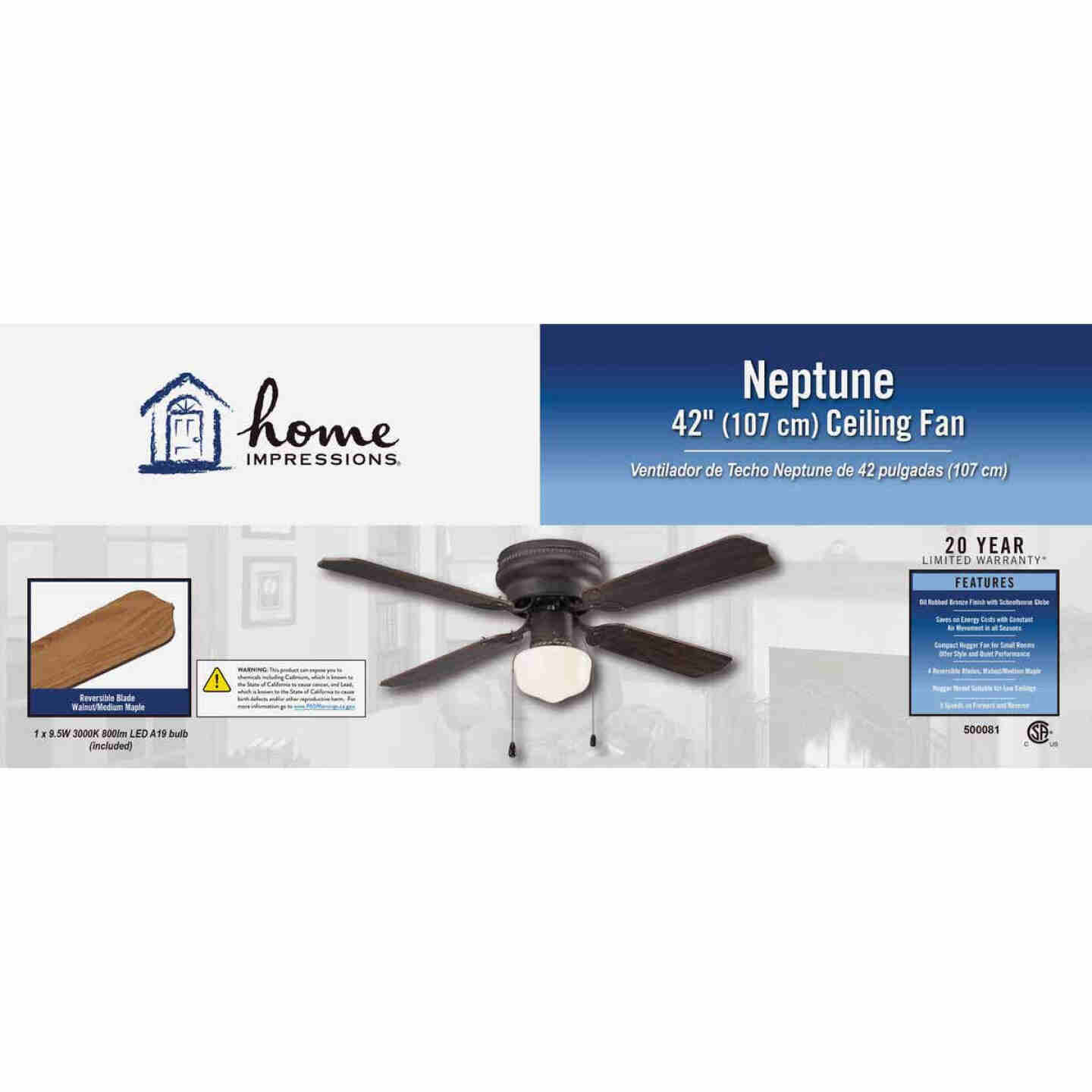 Home Impressions Neptune 42 In. Oil Rubbed Bronze Ceiling Fan with Light Kit Image 2