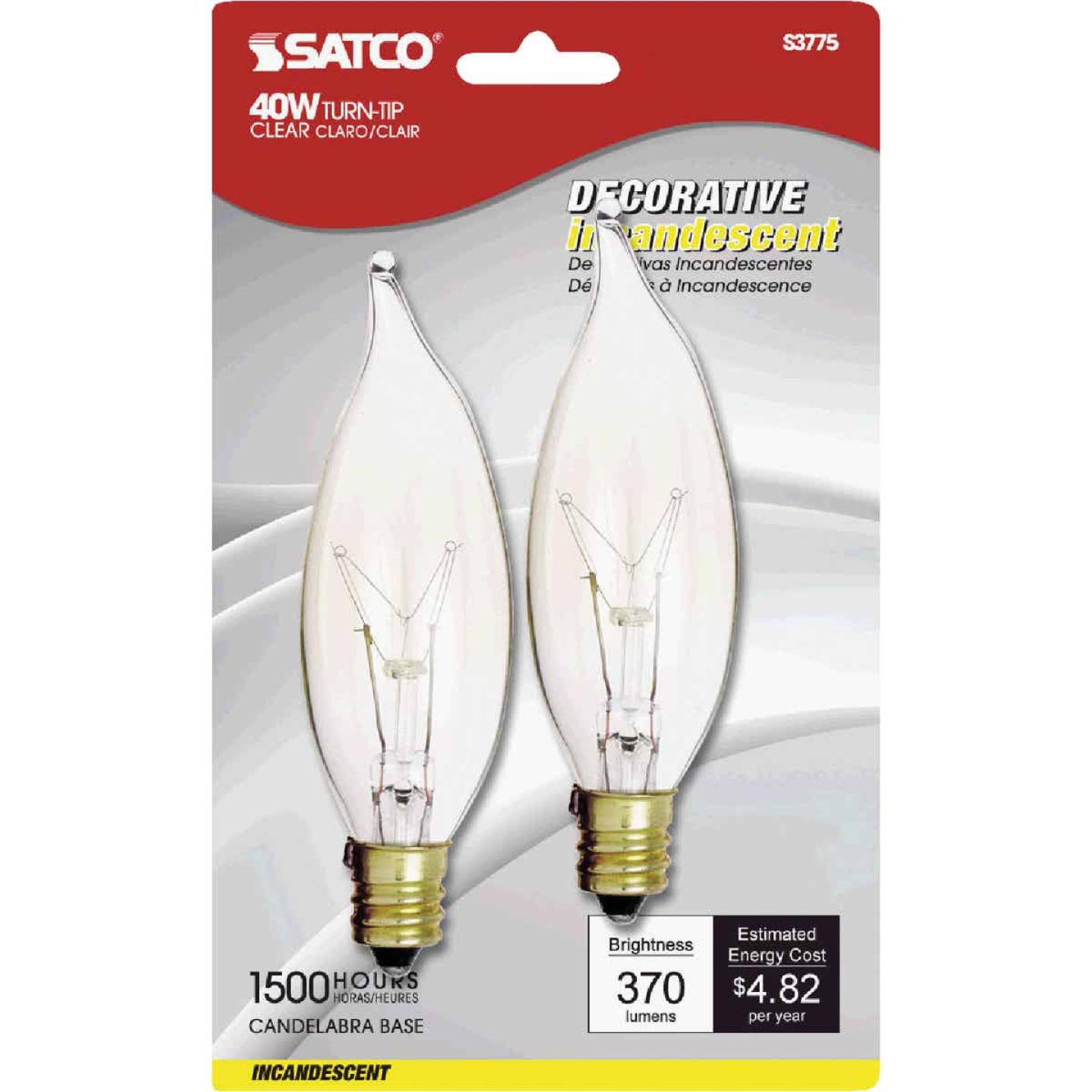 Satco 40W Clear Candelabra CA9.5 Incandescent Turn Tip Decorative Light Bulb (2-Pack) Image 1