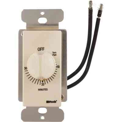 Woods 125V In-Wall 30-Minute Spring Wound Almond Timer