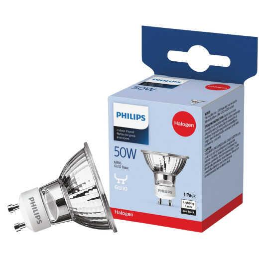 Philips 60W Equivalent Clear GU10 Base MR16 Halogen Floodlight Light Bulb