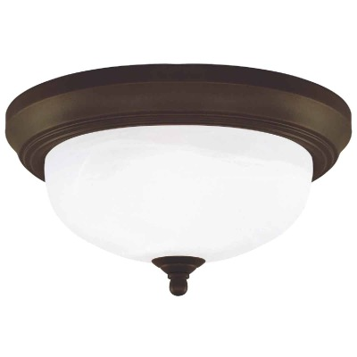 Home Impressions 13 In. Oil Rubbed Bronze Incandescent Flush Mount Ceiling Light Fixture with Alabaster Glass