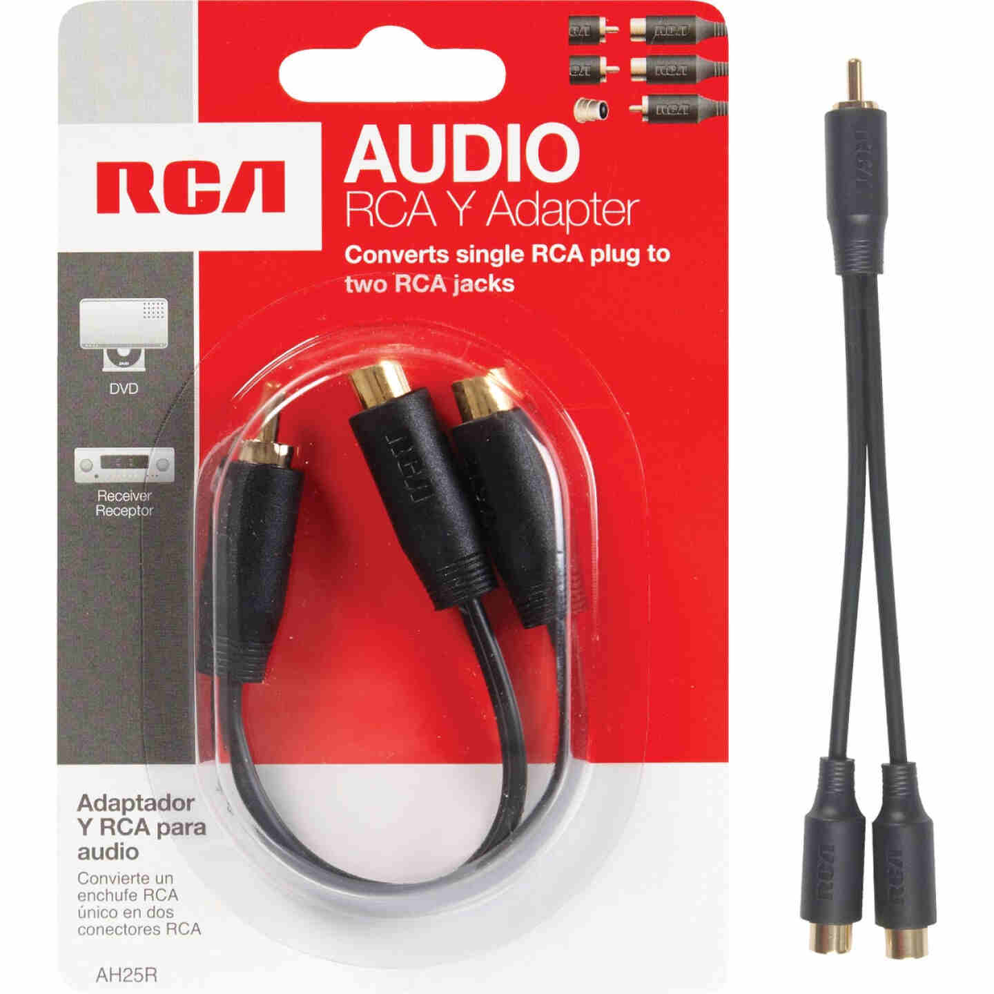 RCA 3 In. Single 3.5 mm Male Double 3.5 mm Female Y-Adapter Image 1