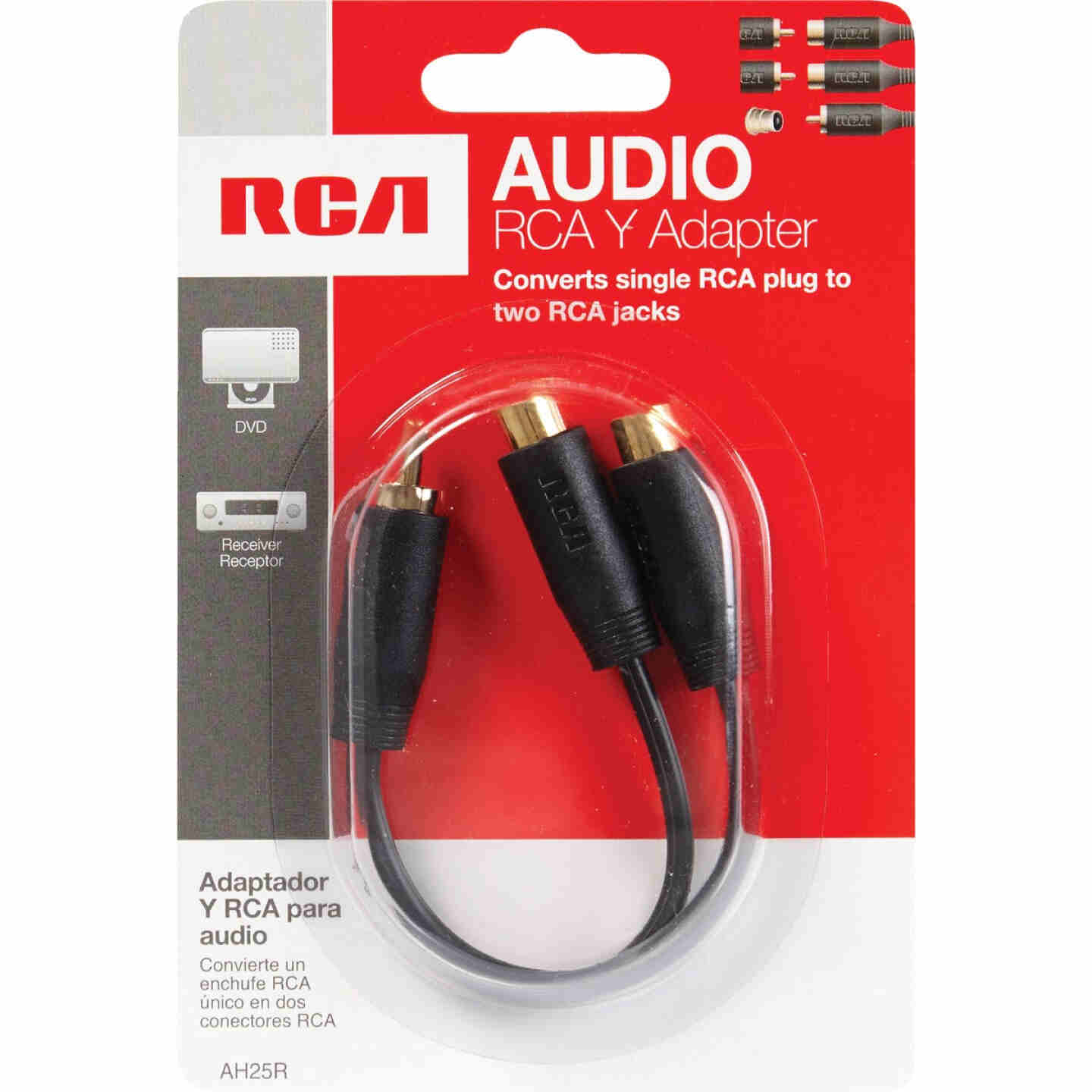 RCA 3 In. Single 3.5 mm Male Double 3.5 mm Female Y-Adapter Image 2