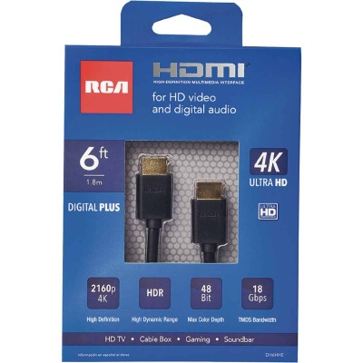 RCA 6 Ft. White 1080P Digital Plus HDMI Cable