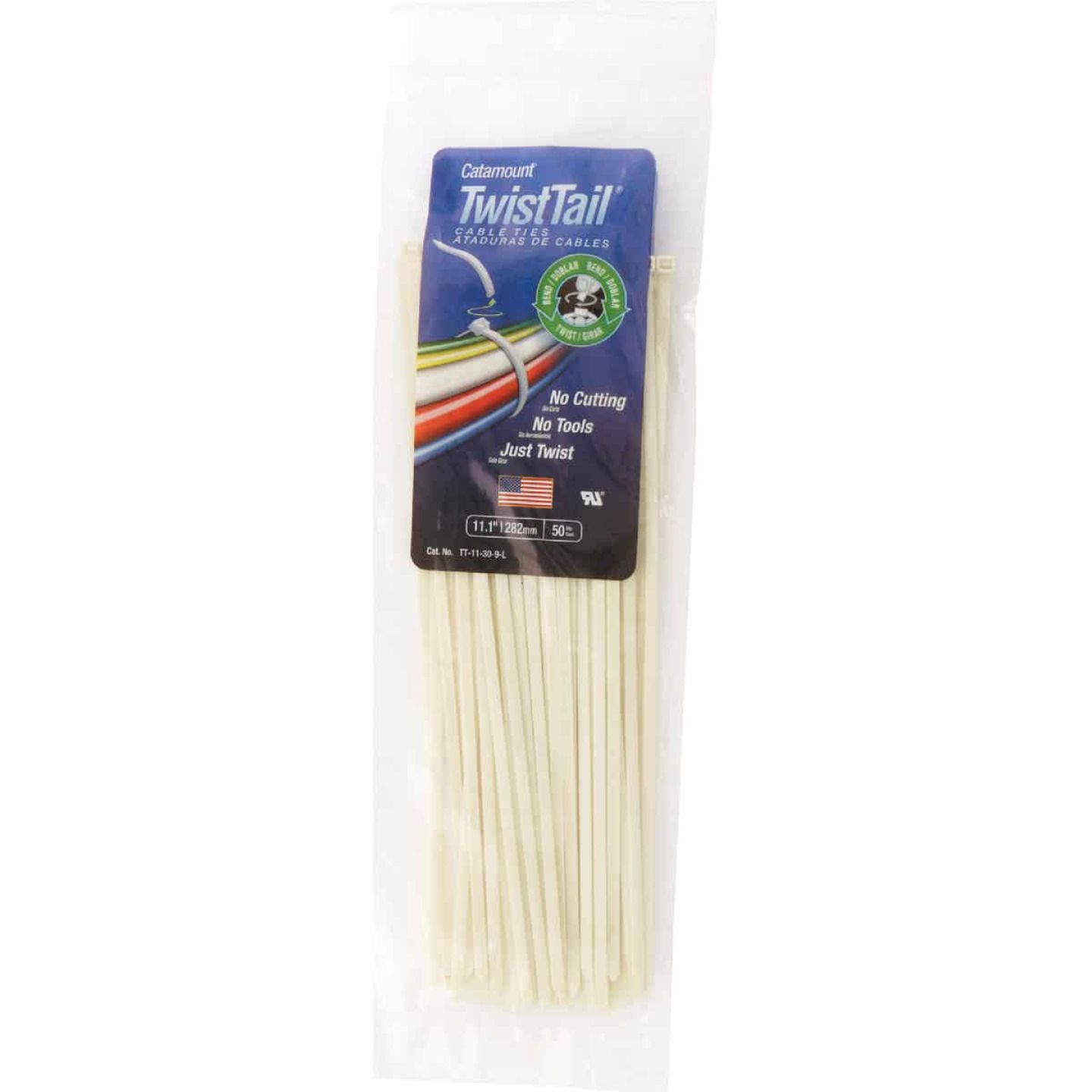 Catamount Twist Tail 11 In. x 0.187 In. White Nylon Cable Tie (50-Pack) Image 2