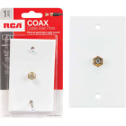 RCA White Single F-Connector Coaxial Wall Plate Image 1