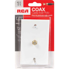 RCA White Single F-Connector Coaxial Wall Plate Image 2
