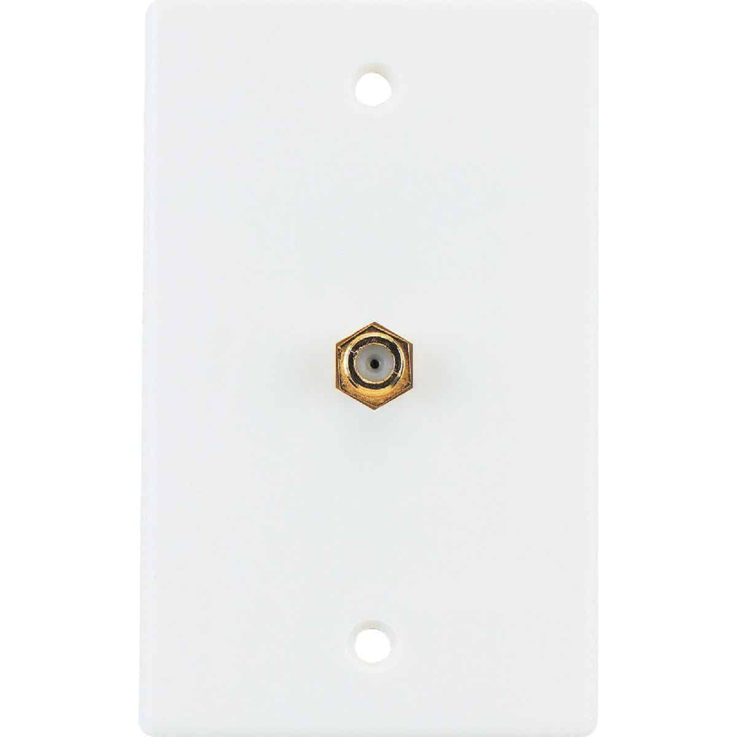 RCA White Single F-Connector Coaxial Wall Plate Image 3