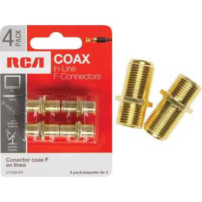 RCA In-Line Feed-Through Coax Connector (4-Pack)