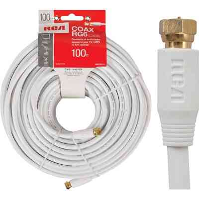 RCA 100 Ft. White Digital RG6 Coaxial Cable