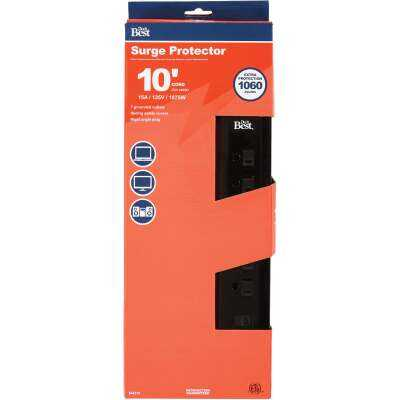 Do it Best 7-Outlet 1060J Black Surge Protector with 10 Ft. Cord