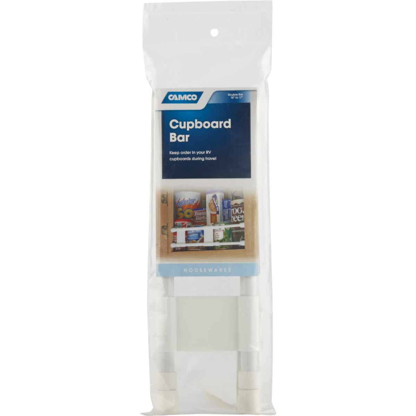 Camco Extends 10 In. to 17 In. White Cupboard RV Storage Bar Image 3