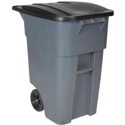 Rubbermaid 50 Gal. Plastic Trash Can With Lid