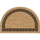 Americo Home Greek Key 24 In. x 36 In. Coir/Vinyl Half Round Door Mat Image 1