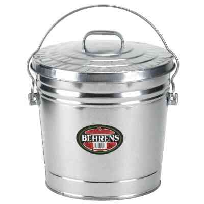 Behrens 10 Gal. Silver Galvanized Garbage Trash Can Pail with Lid