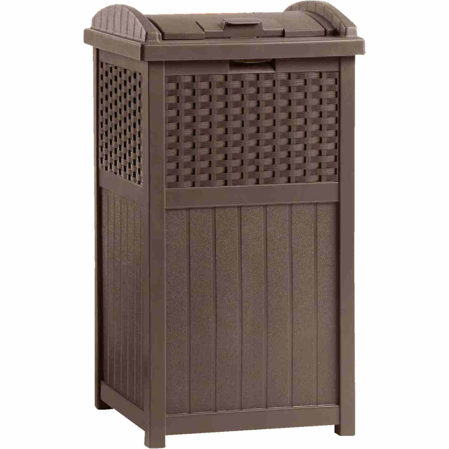Suncast 30 to 33 Gal. Brown Trash Can with Lid Image 1