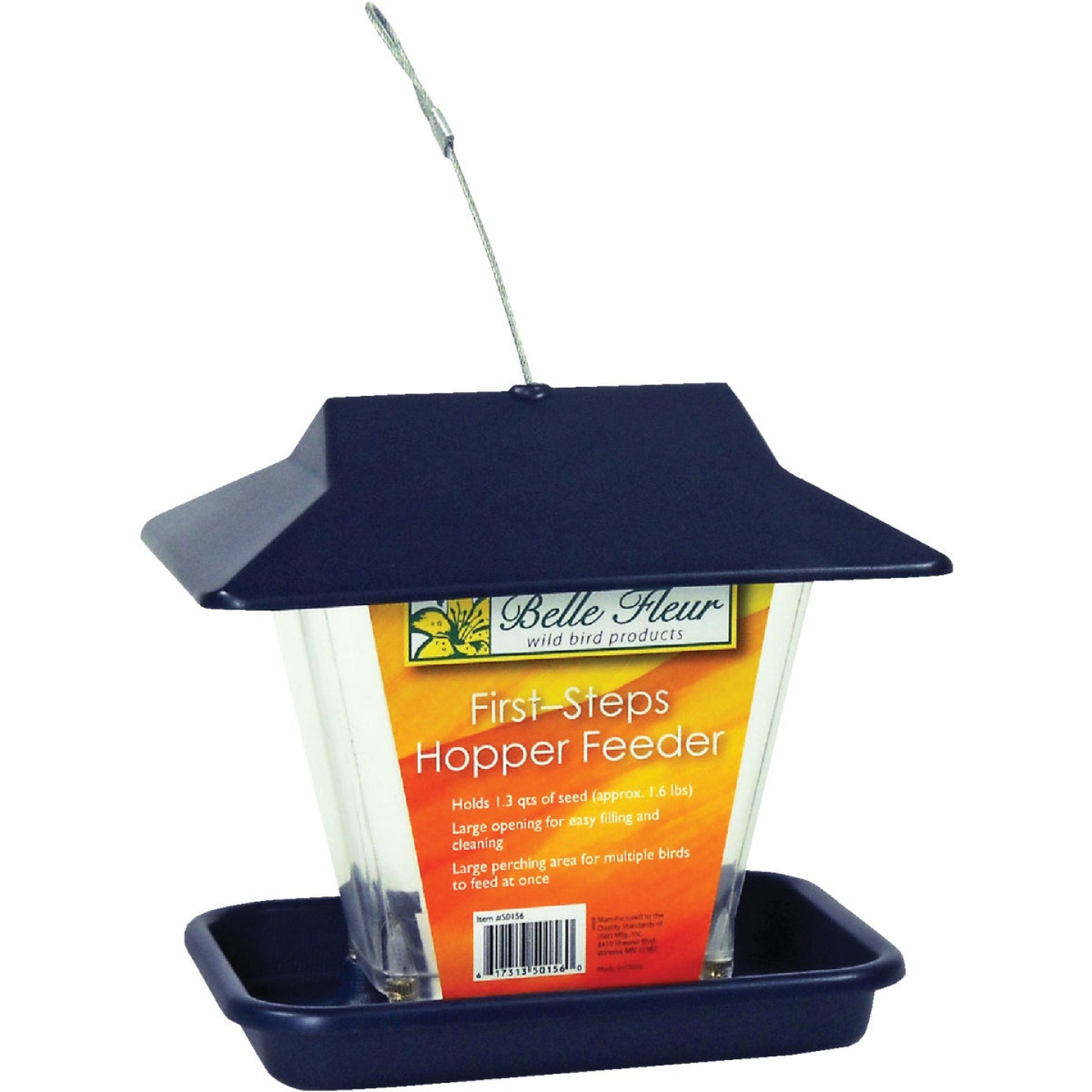 Stokes Select Belle Fleur Blue Plastic Hopper Bird Feeder Image 1