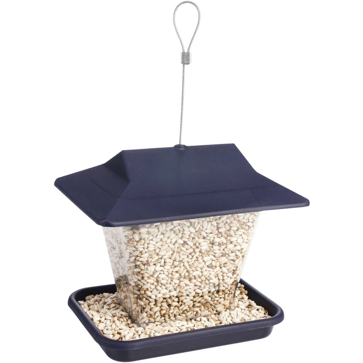 Stokes Select Belle Fleur Blue Plastic Hopper Bird Feeder Image 2