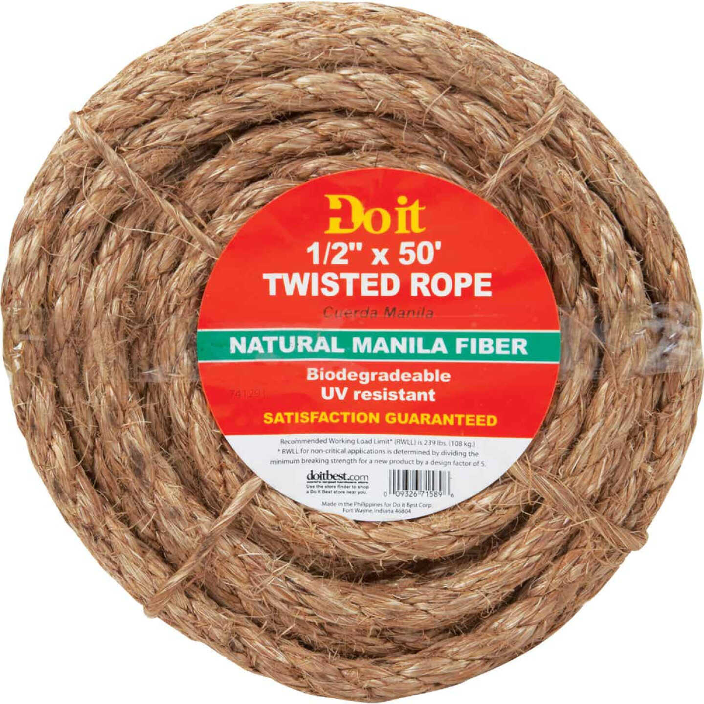 Do it 1/2 In. x 50 Ft. Natural Twisted Manila Fiber Packaged Rope Image 1