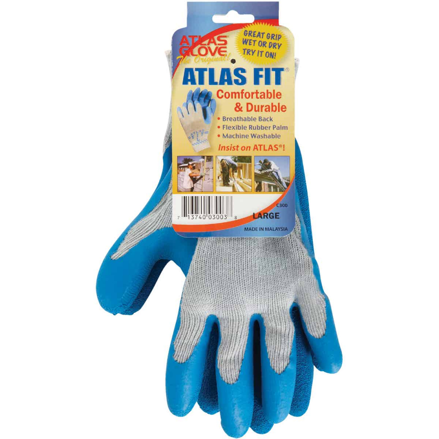 Showa Atlas Men's Small Rubber Coated Glove Image 2