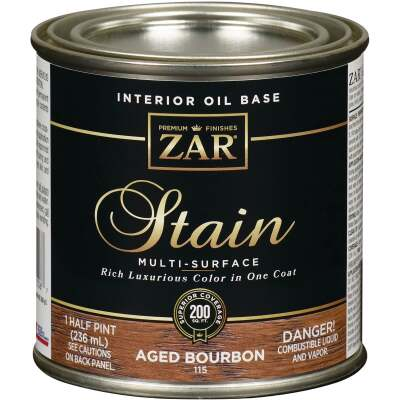 ZAR Oil-Based Wood Stain, Aged Bourbon, 1/2 Pt.